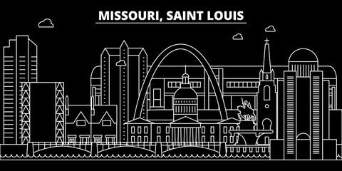 Saint Louis silhouette skyline. USA - Saint Louis vector city, american linear architecture, buildings. Saint Louis line travel illustration, landmarks. USA flat icons, american outline design banner