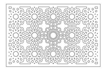Set decorative card for cutting laser or plotter. Arabic pattern. Laser cut. Ratio 1:1, 1:2. Vector illustration.