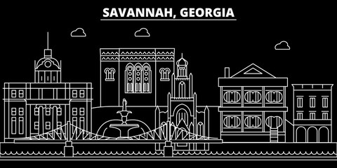 Savannah silhouette skyline. USA - Savannah vector city, american linear architecture, buildings. Savannah line travel illustration, landmarks. USA flat icons, american outline design banner