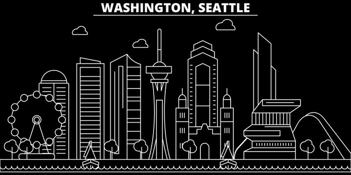 Seattle silhouette skyline. USA - Seattle vector city, american linear architecture, buildings. Seattle line travel illustration, landmarks. USA flat icons, american outline design banner