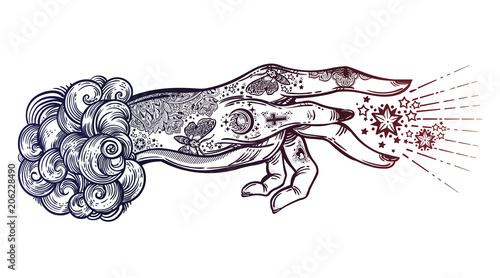 Flash magic  Inked human hand, sending magic hypnosis beam