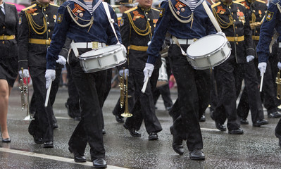 Drummers in a Marching Band