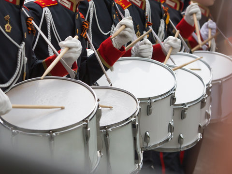 Drummers participate in parade
