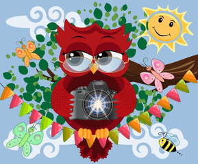 A red sweet owl with glasses and a camera sits on a garland of flags on a clear sunny day. Photo business, photographer, vocation, profession
