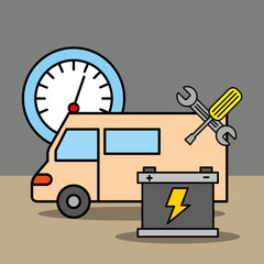 car service repair speedometer battery and tools vector illustration