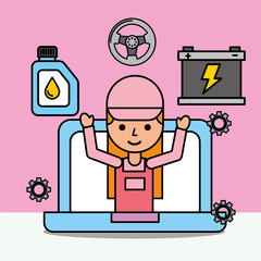 mechanic girl in laptop website car service vector illustration