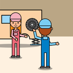 car mechanic boy and girl working in auto repair service vector illustration