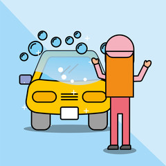 mechanic girl car washing service vector illustration