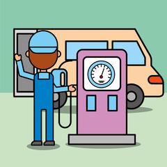 mechanic boy in station gasoline pump car service vector illustration