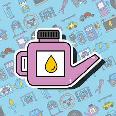 car service engine oil canister tool vector illustration