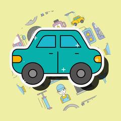 car sedan cartoon side view service repair vector illustration
