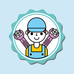 mechanic boy in overalls with tools car service vector illustration