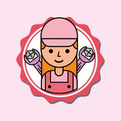 mechanic girl car service tools label vector illustration