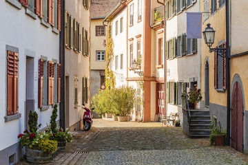 Austria, Vorarlberg, Bregenz, Upper city, alley and row of old houses