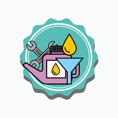 car service oil canister funnel and tools vector illustration