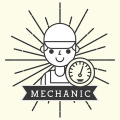 mechanic boy character in uniform portrait vector illustration