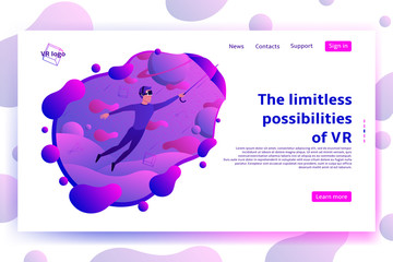 Web page with VR concept. Vector illustration with man flying in cyberspace. Virtual reality concept.