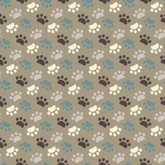 Paw seamless pattern.Animals foot imprint.