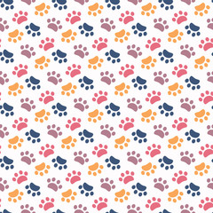Paw pattern animal imprint on a white