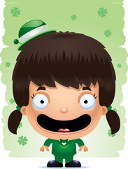 Smiling Cartoon Girl Leprechaun