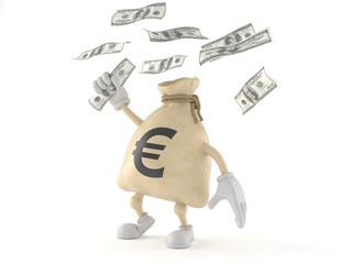 Euro money bag character catching money