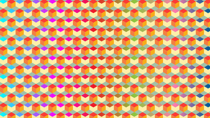Geometric Vector Pattern of Beautiful Colors (3D Boxes)