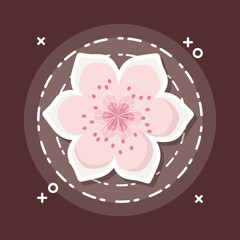 blossom flower icon over brown background, colorful design. vector illustration
