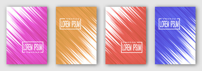 Set of four brochures, posters, flyers. Pink orange red blue stripes diagonally.  For your design. 10 eps