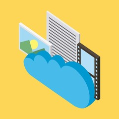 cloud computing storage movie photo letter vector illustration isometric