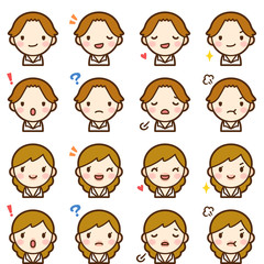 Isolated set of brown hair man & woman avatar expressions