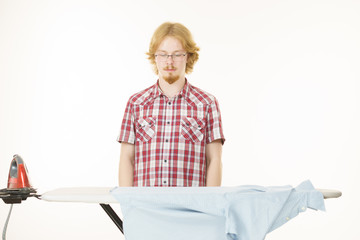 Man about to do ironing