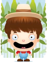 Cartoon Boy Farmer Smiling