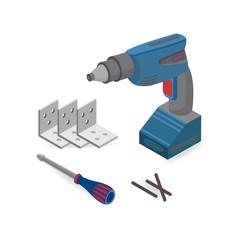 Drill, screwdriver. Isometric construction tools.