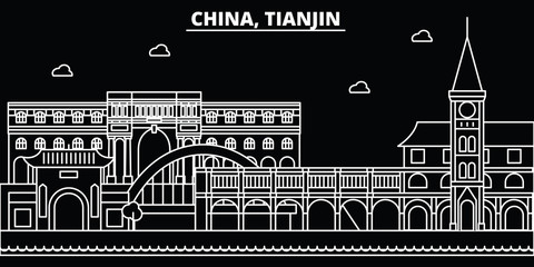 Tianjin silhouette skyline. China - Tianjin vector city, chinese linear architecture, buildings. Tianjin travel illustration, outline landmarks. China flat icon, chinese line design banner Papier Peint