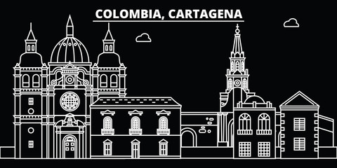 Cartagena silhouette skyline. Colombia - Cartagena vector city, colombian linear architecture, buildings. Cartagena travel illustration, outline landmarks. Colombia flat icon, colombian line design