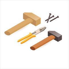 Pliers, hammer, screwdrivers. Isometric construction tools.