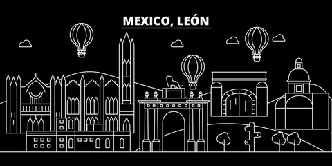 Leon silhouette skyline. Mexico - Leon vector city, mexican linear architecture, buildings. Leon line travel illustration, landmarks. Mexico flat icons, mexican outline design banner