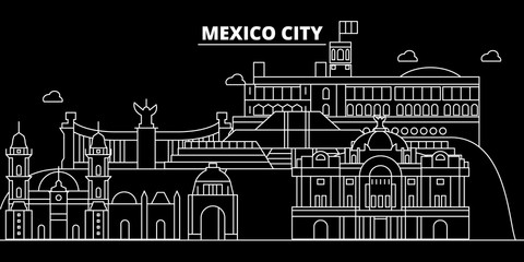 Mexico silhouette skyline, vector, city, mexican linear architecture, buildings. Mexico travel illustration, outline landmarks, flat icons, mexican line banner
