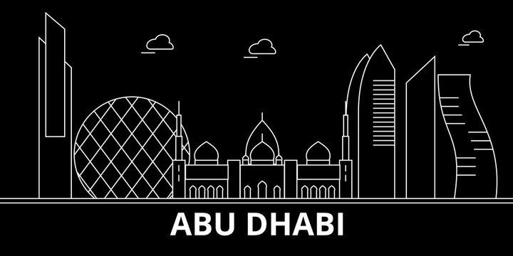 Abu Dhabi city silhouette skyline. United Arab Emirates - Abu Dhabi city vector city, arab linear architecture, buildings. Abu Dhabi city travel illustration, outline landmarks. United Arab Emirates
