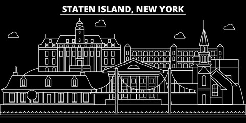 New York City silhouette skyline. USA - New York City vector city, american linear architecture, buildings. New York City line travel illustration, landmarks. USA flat icons, american outline design