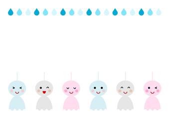 てるてる坊主と雨 イラスト 背景 フレーム