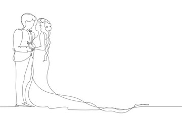 Bride and groom. Couple in love. Wedding. A man and a woman look at each other. Drawing a continuous line.