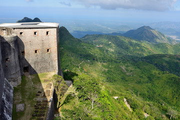 Mountain range over Haiti and remains of the French Citadelle la ferriere built on the top of a mountain, Haiti UNESCO.