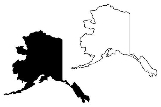 Alaska map vector illustration, scribble sketch Alaska map