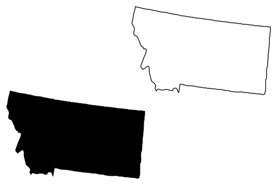 Montana map vector illustration, scribble sketch Montana map