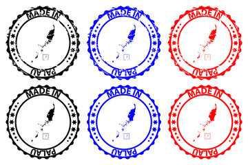 Made in Palau - rubber stamp - vector, Republic of Palau map pattern - black, blue and red