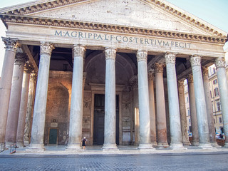 Giant building of Pantheon in Rome, Italy