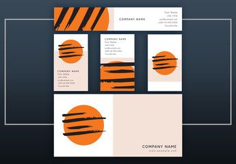Business Identity Layout Set with Orange Orb and Black Brush Strokes