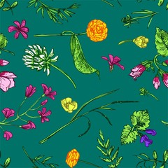 Beautiful hand drawn vector illustration floral pattern