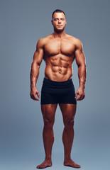 Full body image of male bodybuilder.
